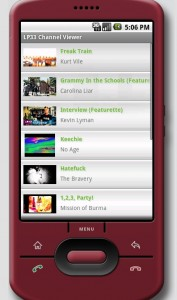LP33.TV Android App Channel Video Menu