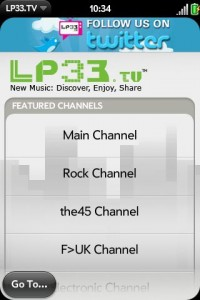 LP33.TV Palm Pre WebOS App Channel Menu